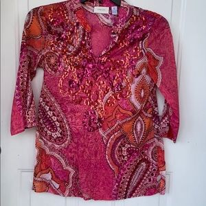 CHICO'S V-NECK SEQUIN BLOUSE !